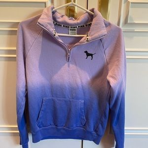 PINK blue and purple ombré quarter zip XS